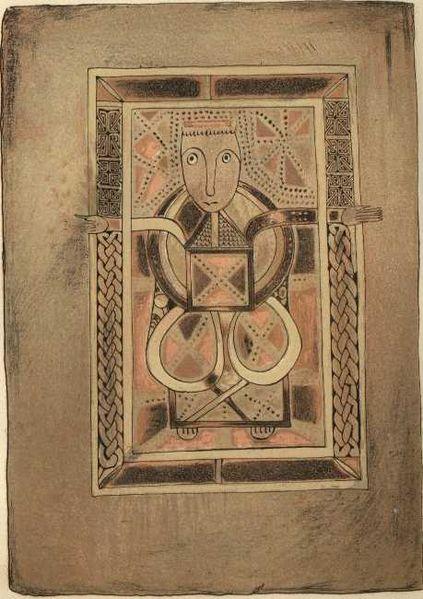 Folio 29 verso from the Book of Deer (Cambridge University Library, MS. II.6.32), Portrait of Luke.