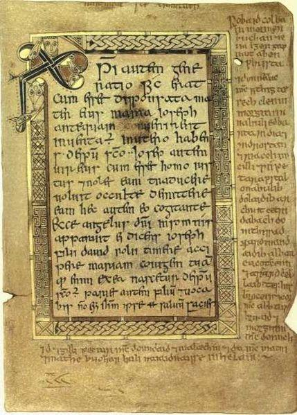 Folio 5 recto from the Book of Deer (Cambridge University Library, MS. II.6.32), Text from the Gospel of Matthew, starting at Matt. 1:18, with Chi Rho monogram. The text in the margins is amongst the oldest surviving Gaelic text from Scotland.