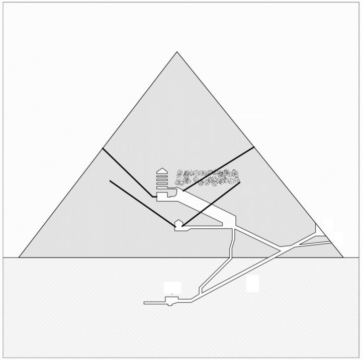 North-south section of the Great Pyramid showing (dust-filled area) the hypothetical project of the chamber, in connection with the lower southern shaft. The upper southern shaft does not intersects the chamber (as instead suggested by the section) becaus