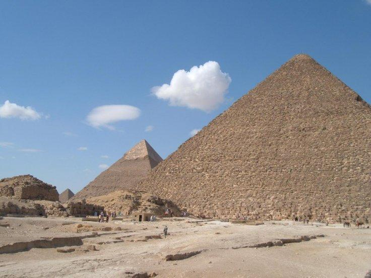 This is a view of the Giza Pyramids from the east with the Great Pyramid in the foreground.