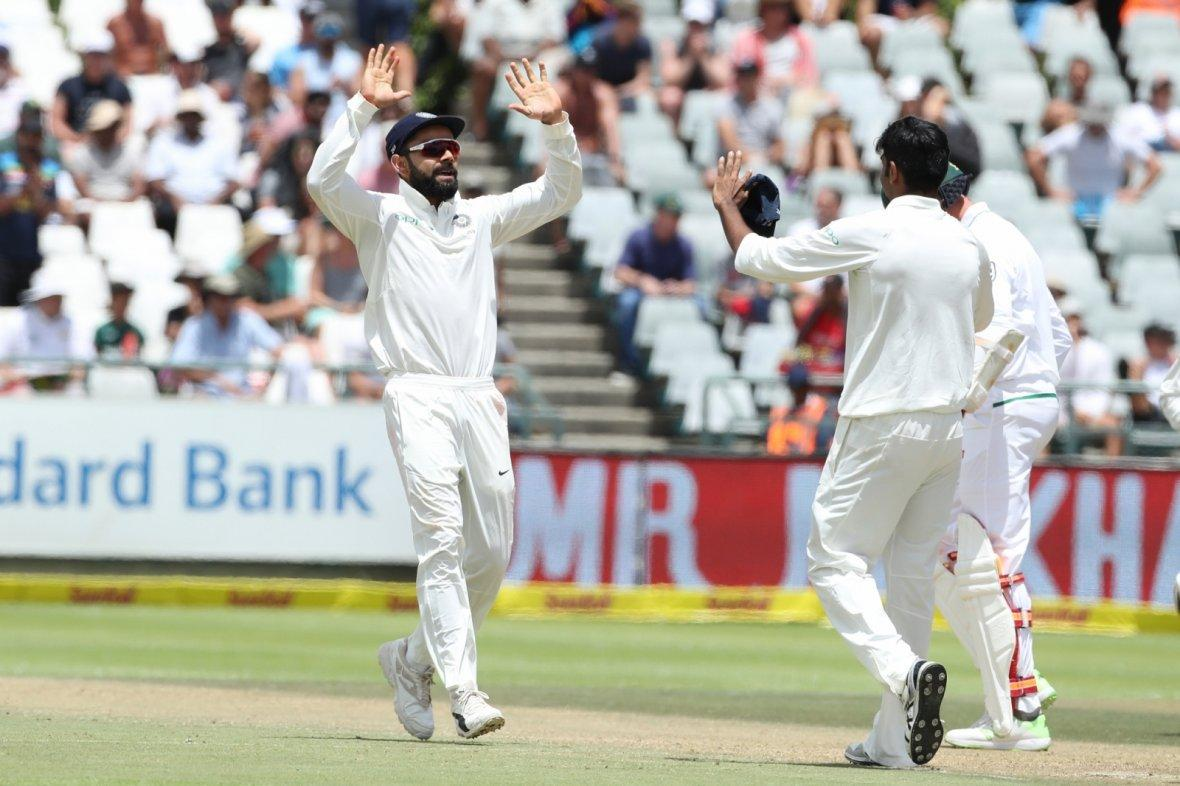 Indian skipper Virat Kohli celebrates fall of AB de Villiers' wicket
