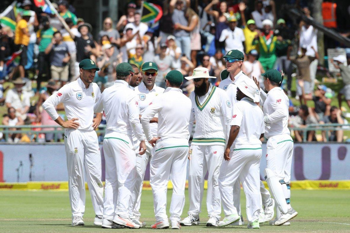 South African's celebrate fall of a wicket