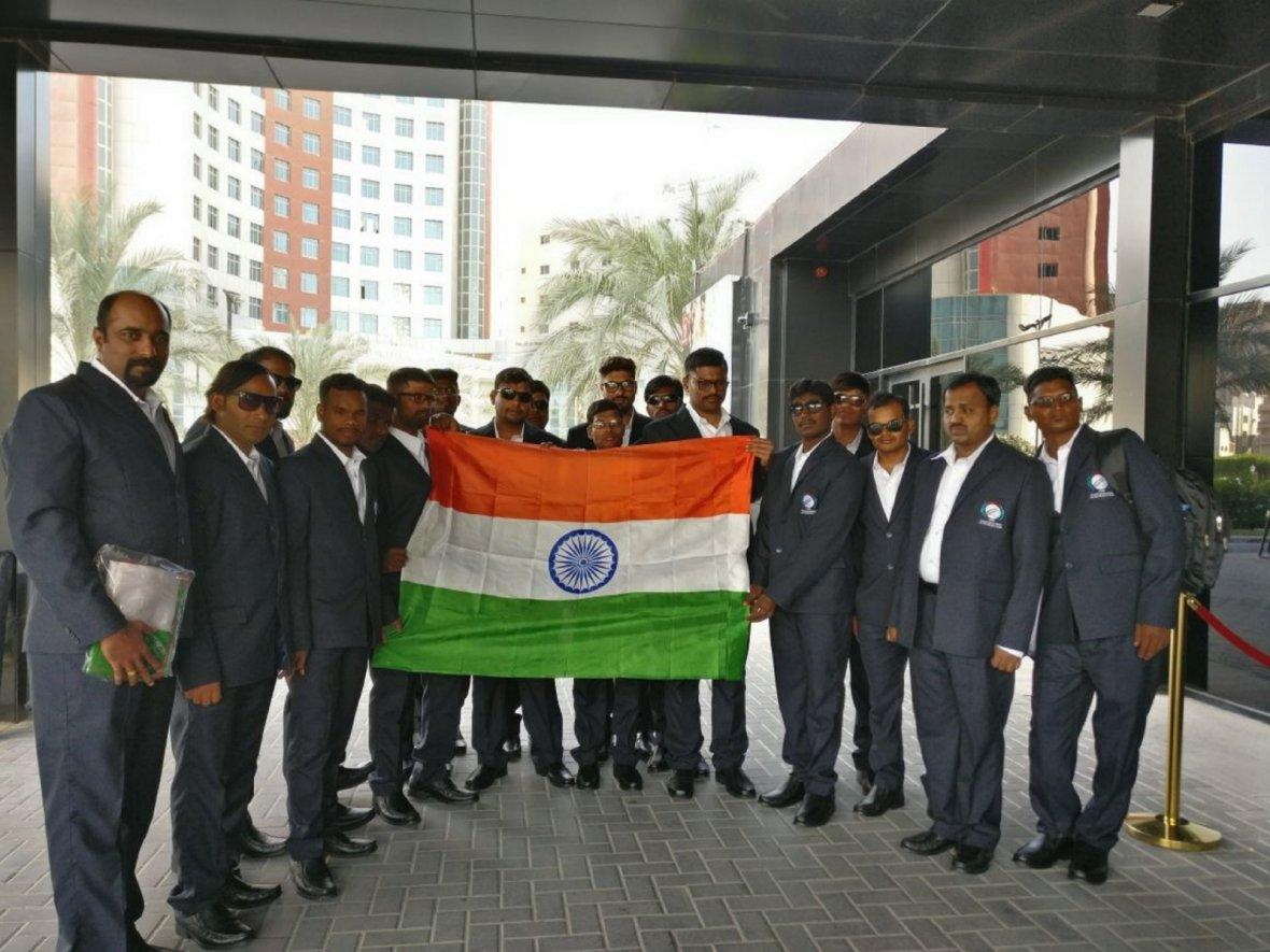 Indian Blind Cricket Team at the inauguration of the 5th ODI Blind Cricket World Cup in UAE on Jan 7, 2018.