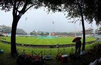 The rain continues to fall in Cape Town during day three of the first Test match between South Africa and India at the Newlands Cricket Ground in Cape Town,