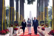 Prime Minister, Shri Narendra Modi and the Prime Minister of Israel, Mr. Benjamin Netanyahu, at Teen Murti Chowk