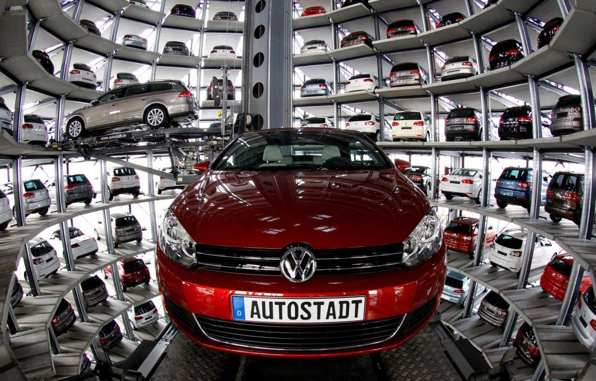 Volkswagen models Golf Cabriolet and Passat are stored at the CarTowers next to the Volkswagen plant.
