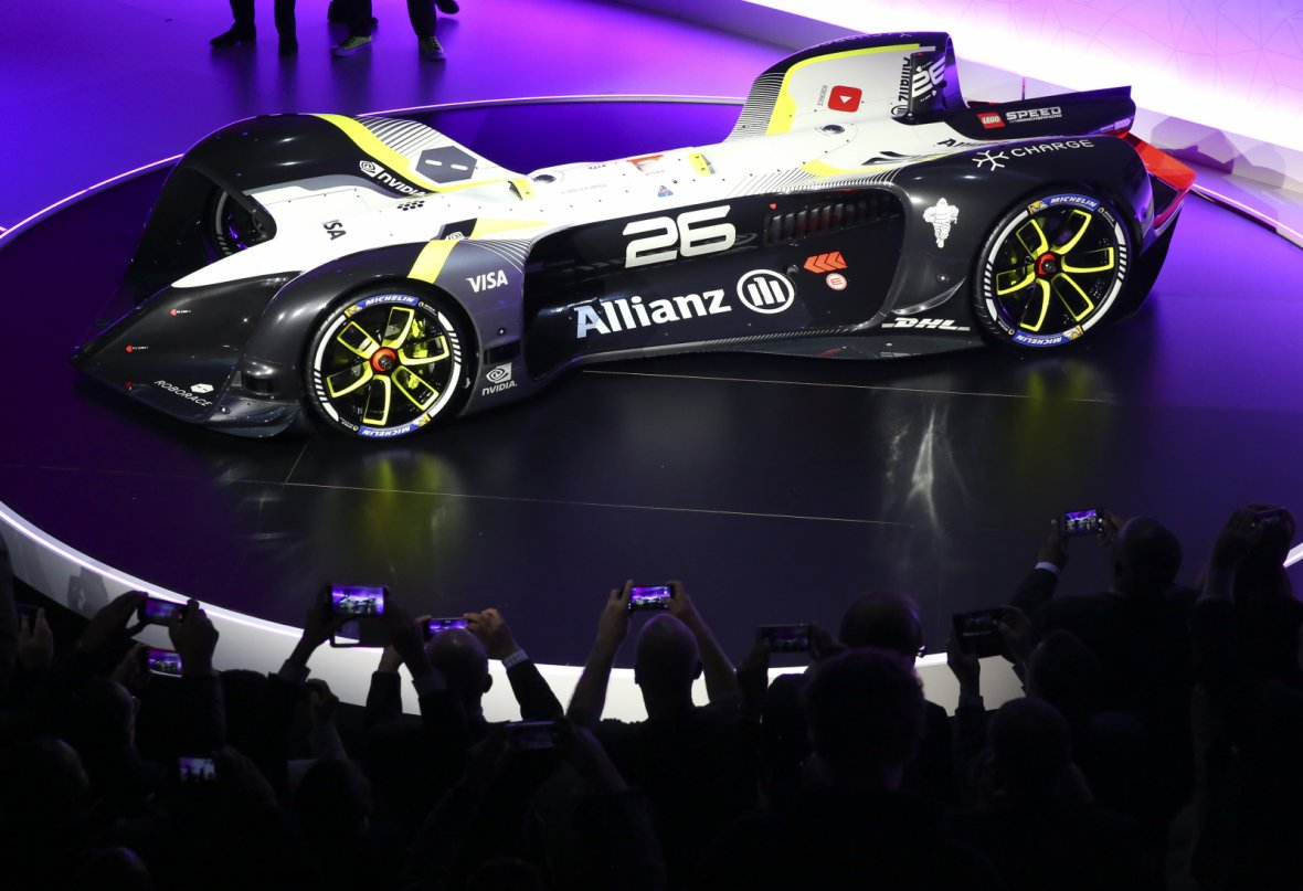 Roborace's self-driving racing car is seen after its unveiling ceremony during Mobile World Congress