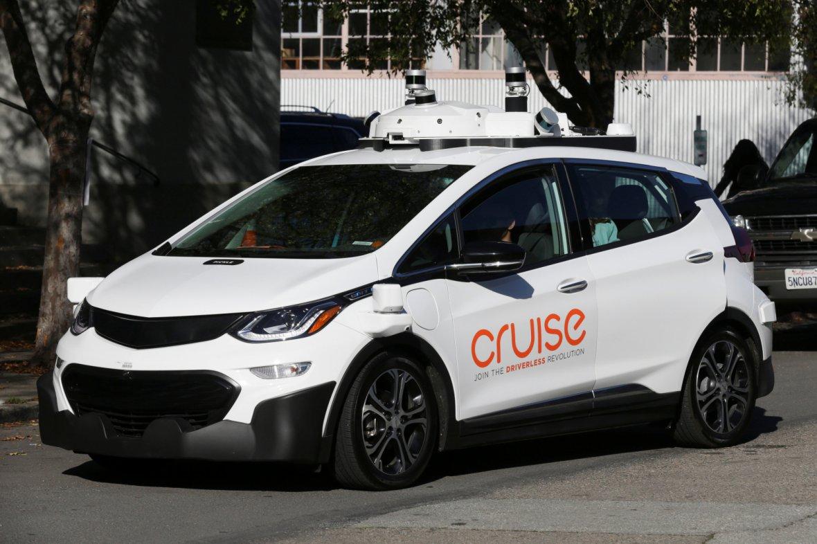 A self-driving GM Bolt EV is seen during a media event where Cruise, GM's autonomous car unit, showed