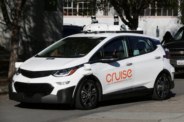 A self-driving GM Bolt EV is seen during a media event where Cruise, GM's autonomous car unit, showed