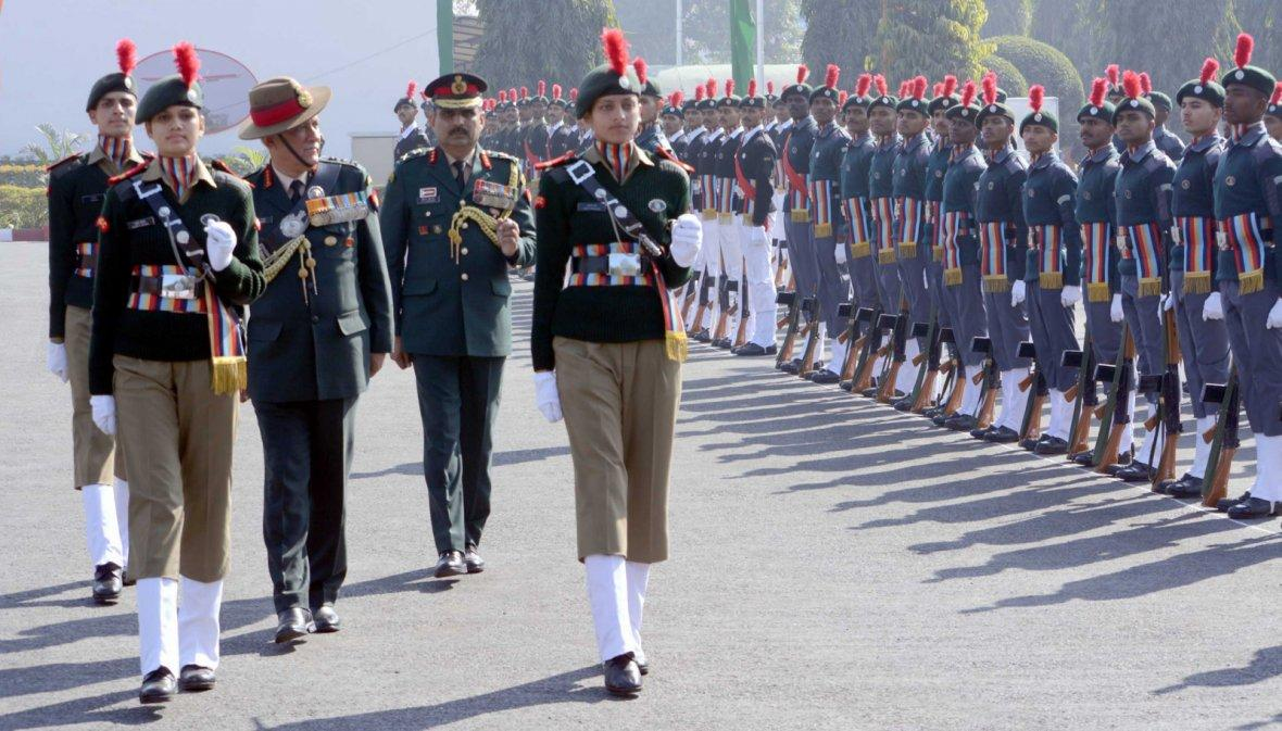Chief of Army Staff, General Bipin Rawat inspecting the Parade, during his visit to the NCC Republic Day Parade Camp 2018