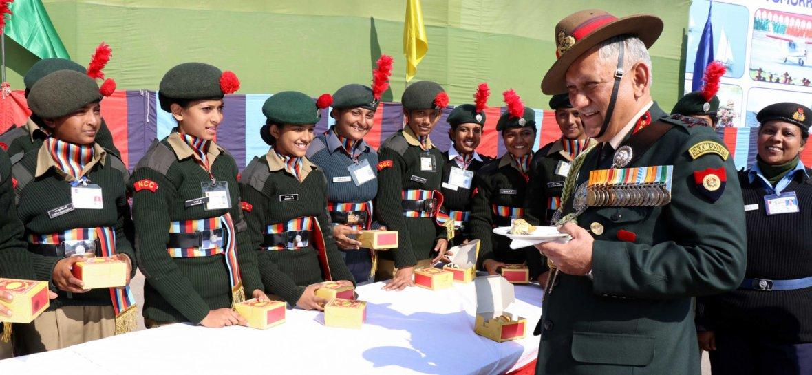 Chief of Army Staff, General Bipin Rawat interacting with cadets, during his visit to the NCC Republic Day Parade Camp 2018