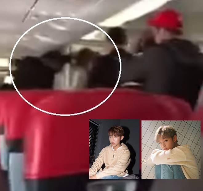 This screenshot shows Park Woo Jin pulling Park Ji Hoon's hair