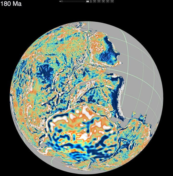 This is a reconstruction of the supercontinent Pangea 180 million years ago. The colors correspond to fluctuations in the continental gravity field, which reflect the deep continental structure such as roots of ancient mountain chains, basins and fold bel