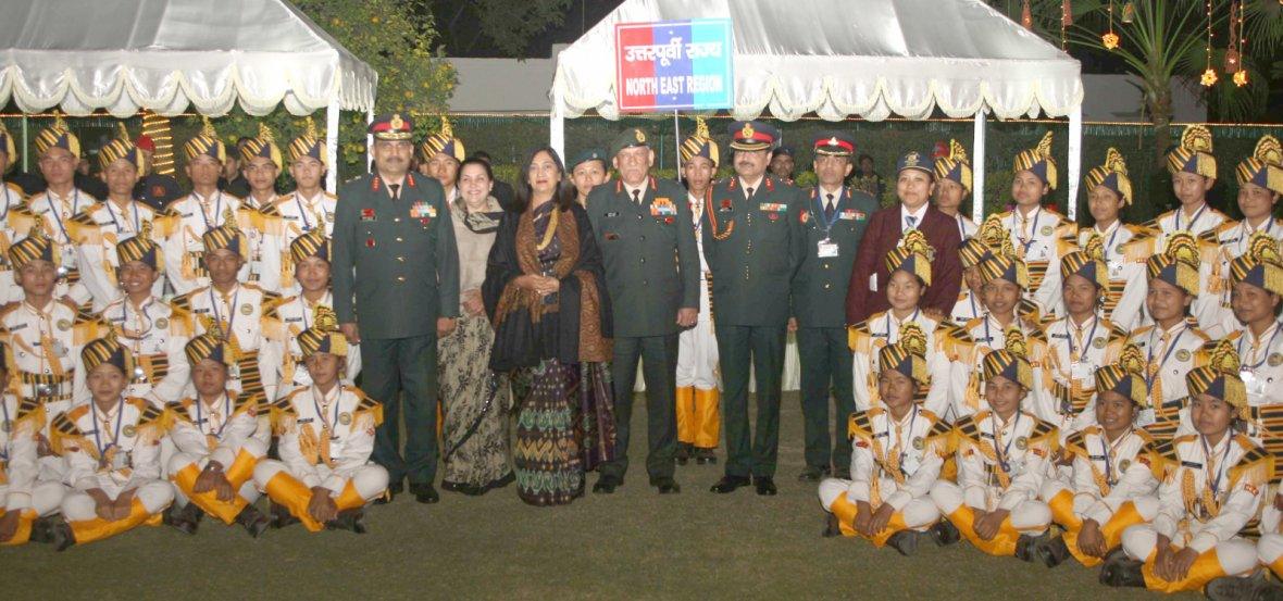 Chief of Army Staff, General Bipin Rawat and Mrs. Madhulika Rawat with the Cadets from North-East Region