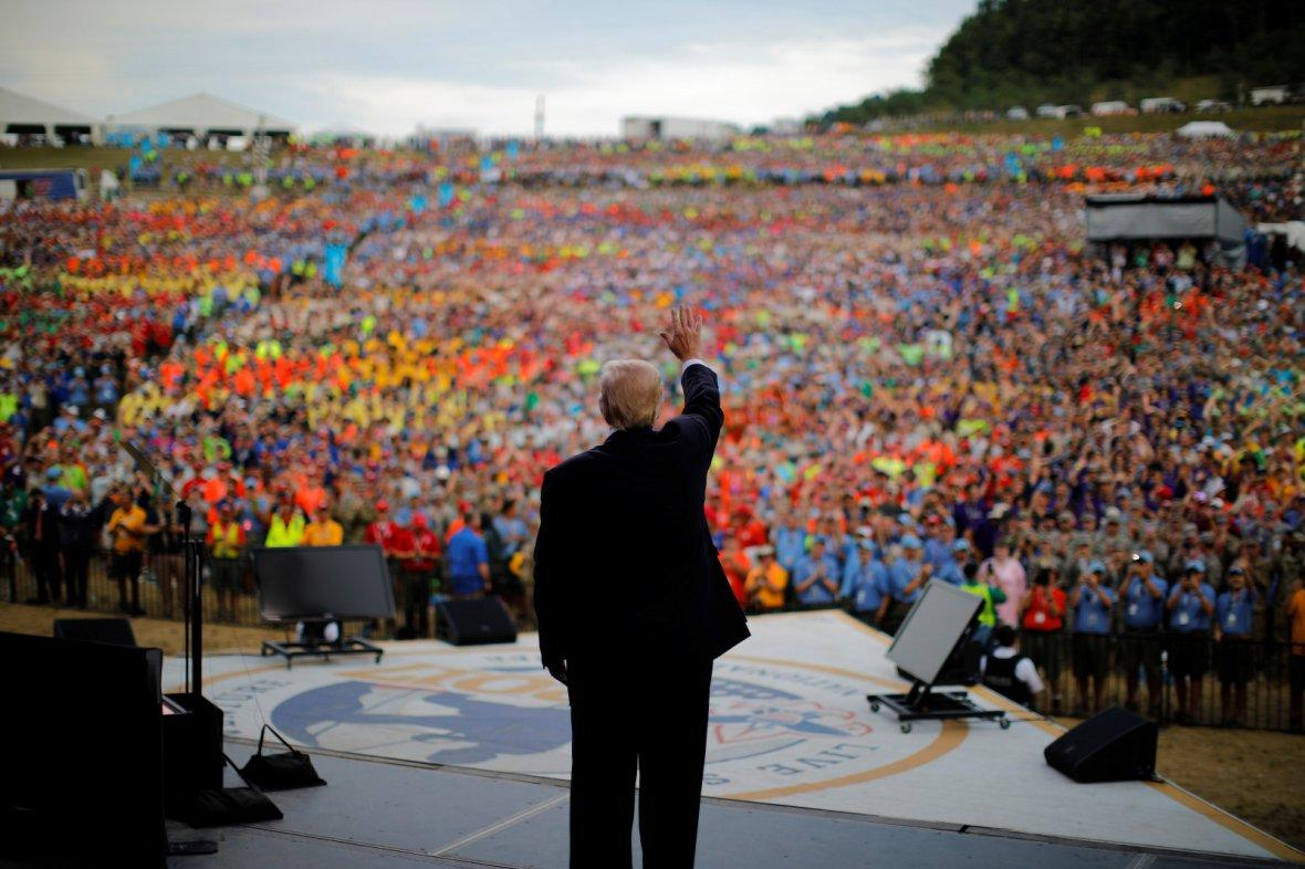 President Donald Trump waves after delivering remarks at the 2017 National Scout Jamboree in Summit Bechtel National Scout Reserve, West Virginia