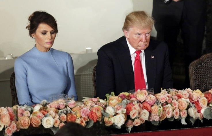 President Donald Trump and first lady Melania attend the Inaugural luncheon at the National Statuary Hall in Washington, January 20, 2017