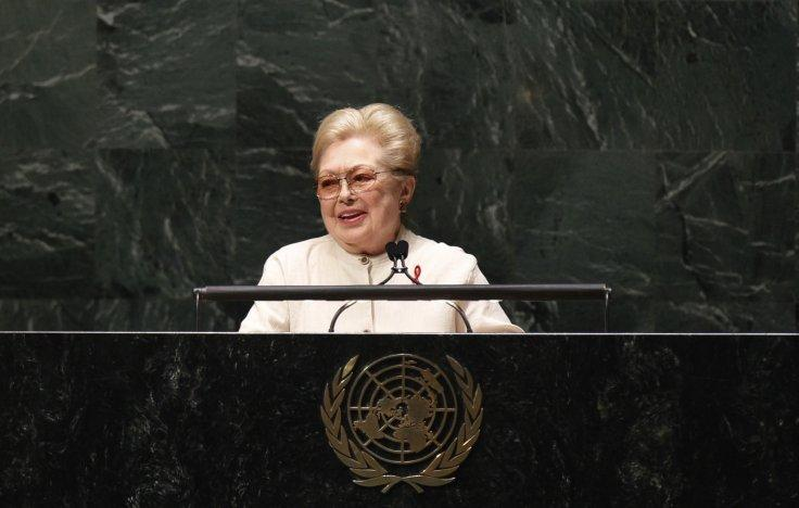 Doctor Mathilde Krim, founding chairman of amfAR, addresses diplomats gathered in the UN General Assembly...