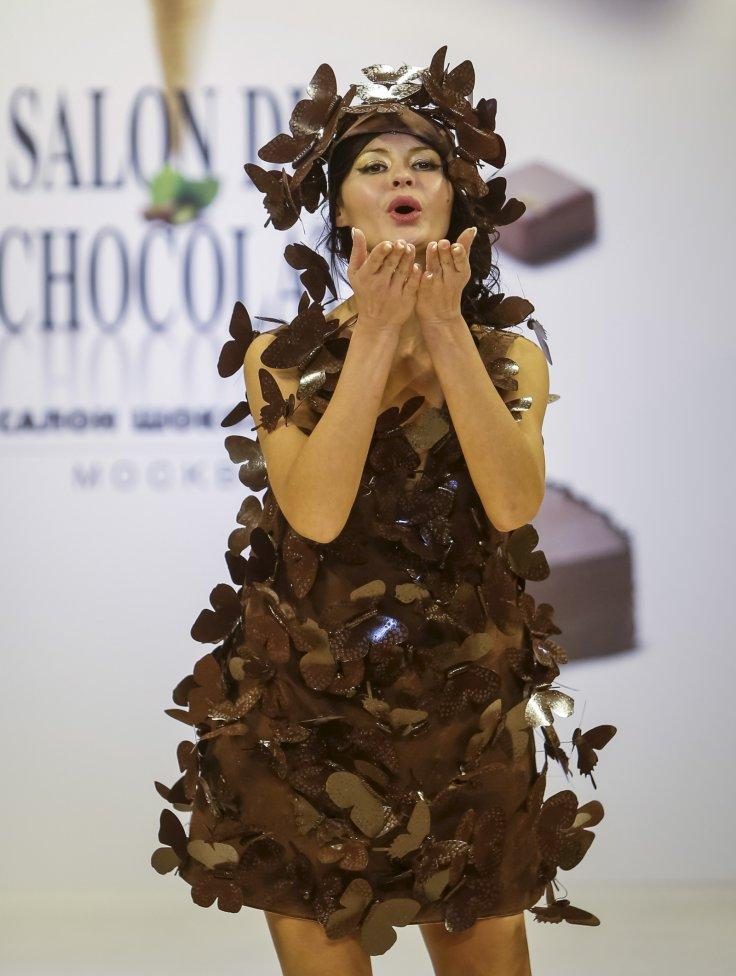 A model displays a chocolate embroidered dress at the Salon du Chocolat in Moscow, Russia, March 6, 2016.