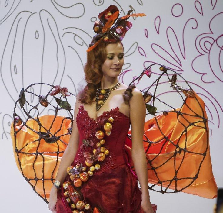 A model displays a chocolate decorated dress at the Salon du Chocolat in Moscow, Russia, March 6, 2016.