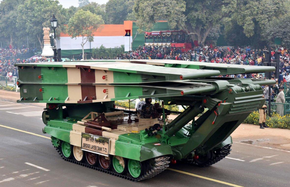 Bridge Layer Tank T-72 passes through the Rajpath