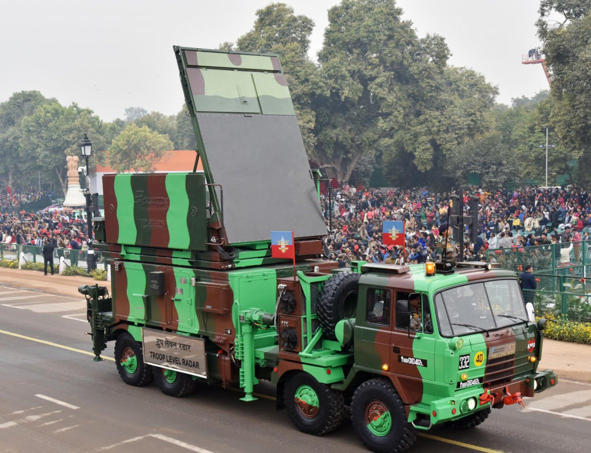 Troop Level Radar (TLR) passes through the Rajpath during the full dress rehearsal for the Republic Day Parade-2018