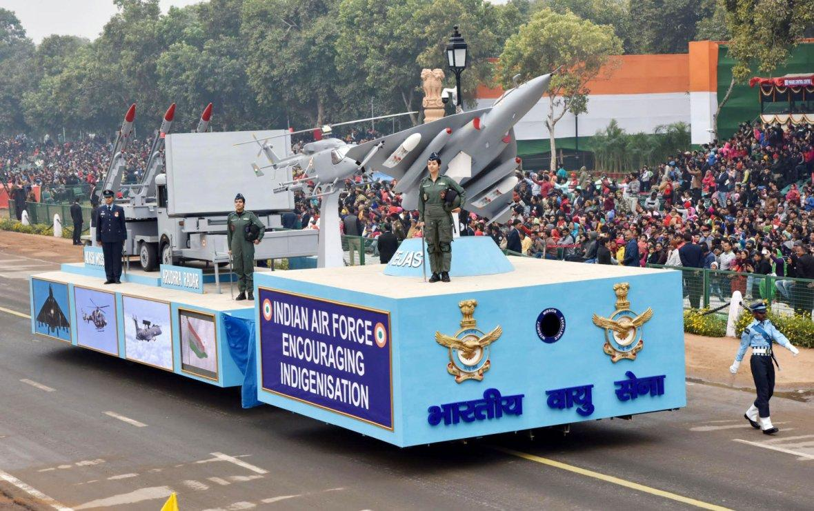 The tableau of Indian Air Force passes through the Rajpath during the full dress rehearsal for the Republic Day Parade-2018