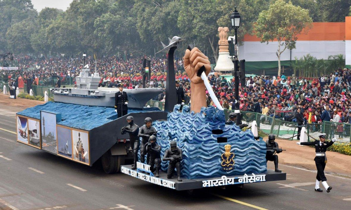 The tableau of Indian Navy passes through the Rajpath during the full dress rehearsal for the Republic Day Parade-2018