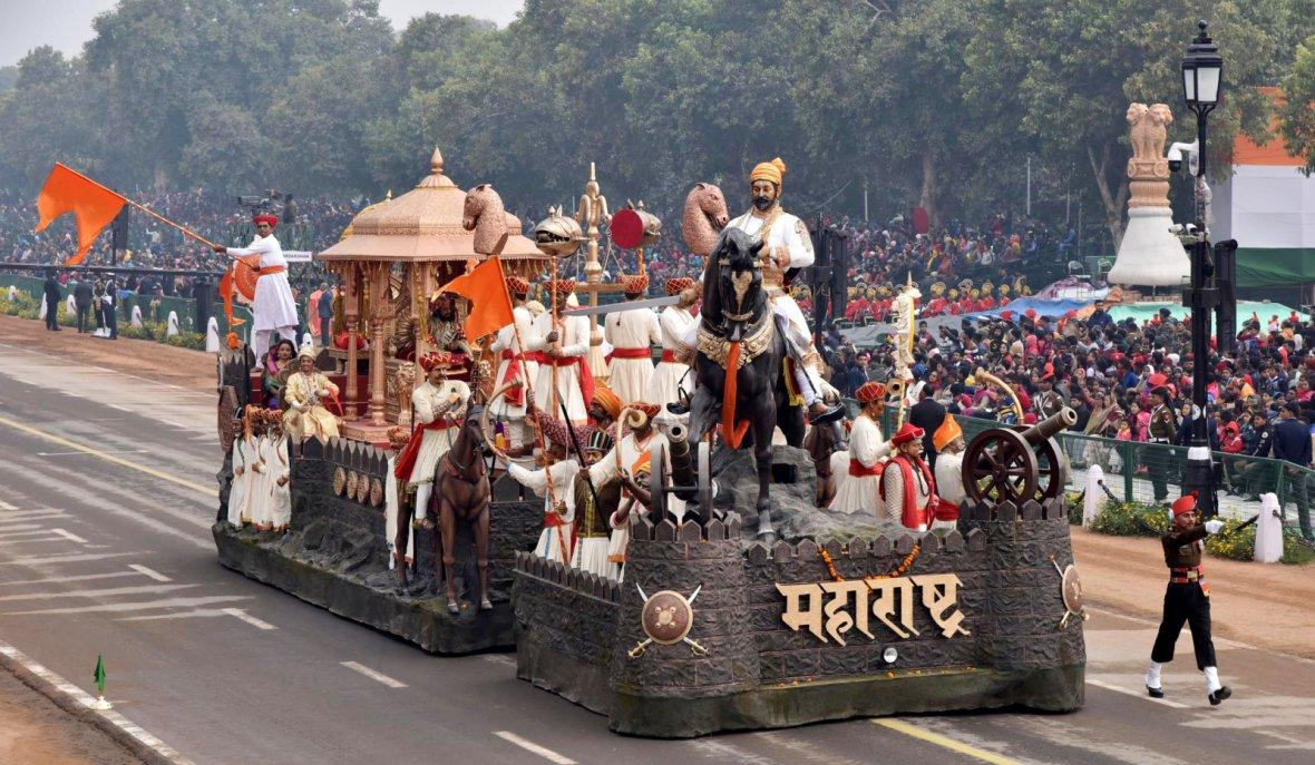 The tableau of Maharashtra passes through the Rajpath during the full dress rehearsal for the Republic Day Parade-2018