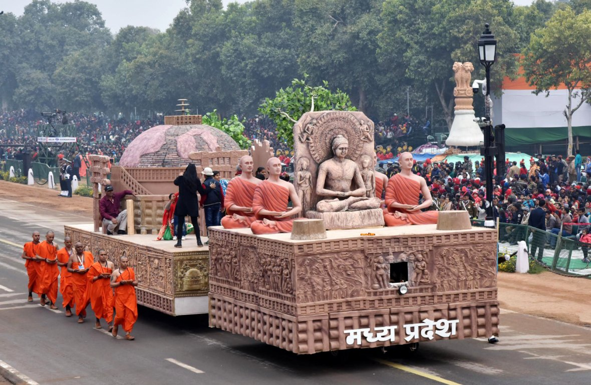 The tableau of Madhya Pradesh passes through the Rajpath during the full dress rehearsal for the Republic Day Parade-2018
