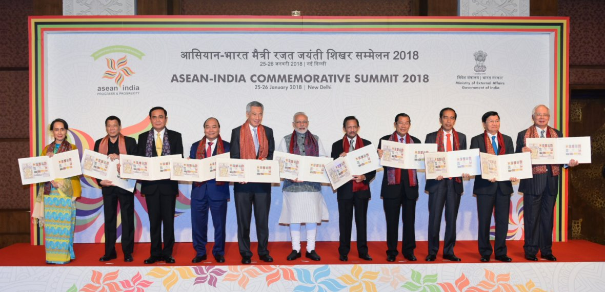 Prime Minister Narendra Modi with the ASEAN Heads of State/Governments and ASEAN Secretary General
