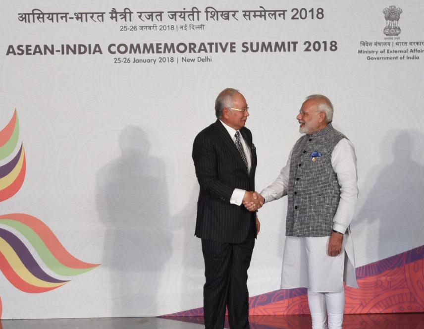 Prime Minister Narendra Modi with the Prime Minister of Malaysia, Dato' Sri Mohd Najib Bin Tun Abdul Razak, at the ASEAN India Commemorative Summit