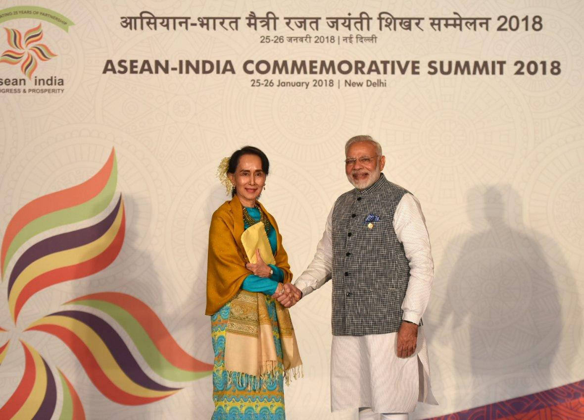 Prime Minister Narendra Modi with the State Counsellor of Myanmar, Ms. Aung San Suu Kyi