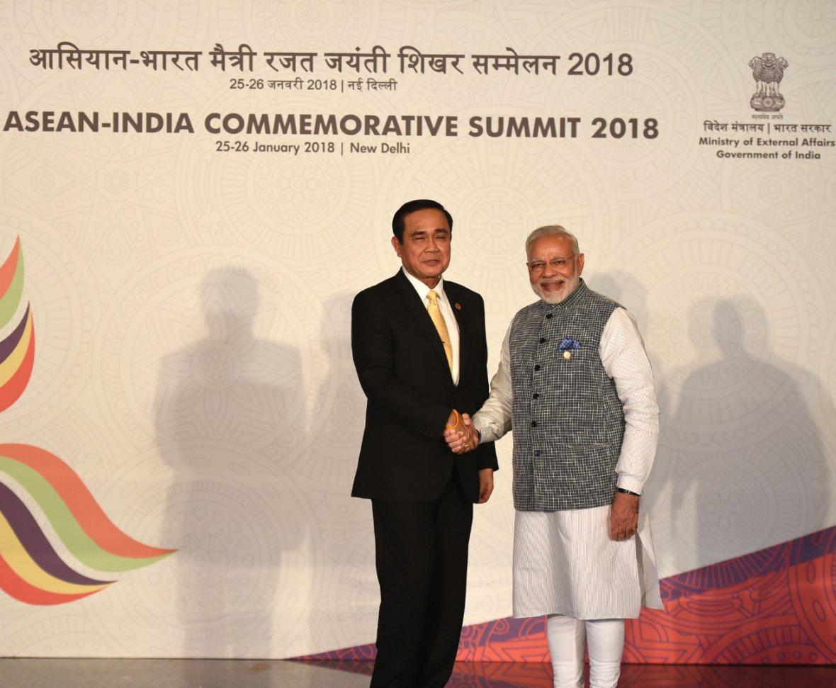 Prime Minister Narendra Modi with the Prime Minister of the Kingdom of Thailand, Mr. Prayut Chan-o-cha