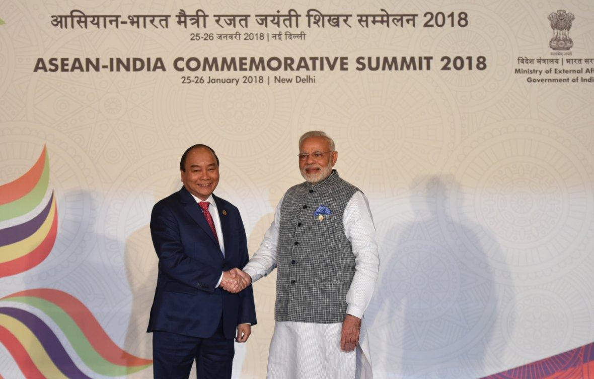 Prime Minister  Narendra Modi with the Prime Minister of the Socialist Republic of Vietnam, Mr. Nguyen Xuan Phuc