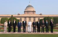 Prime Minister Narendra Modi in a group photograph with the ASEAN Heads of State/Governments, at Rashtrapati Bhavan