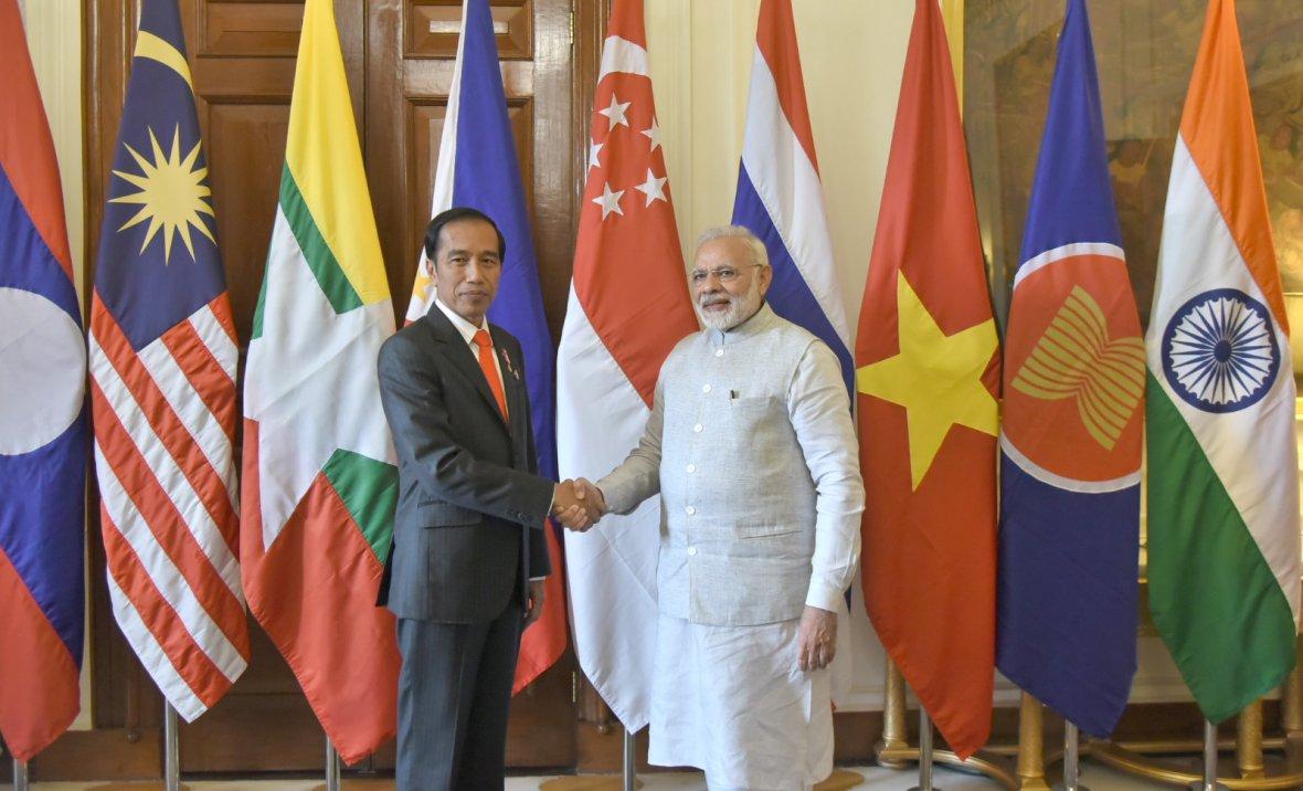 Prime Minister, Narendra Modi with the President of Indonesia, Mr. Joko Widodo