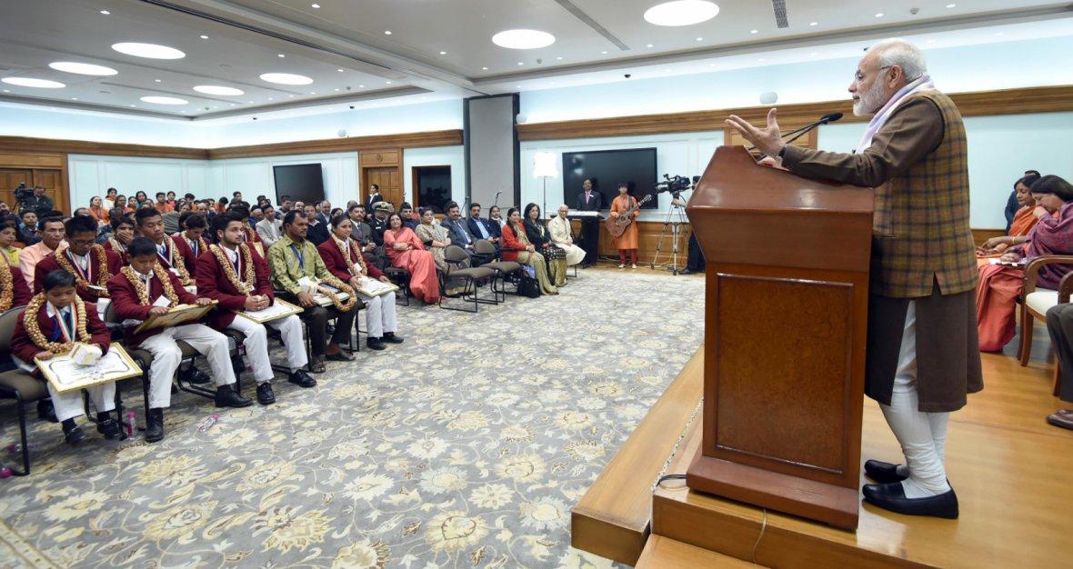 Prime Minister  Narendra Modi addressing at the presentation ceremony of the National Bravery Awards 2017