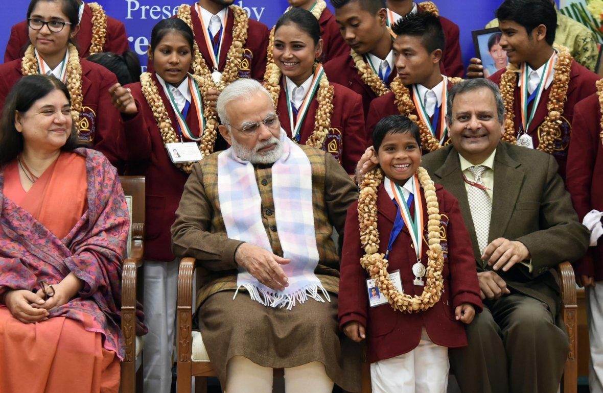 Prime Minister Narendra Modi at the presentation ceremony of the National Bravery Awards 2017