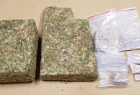 Cannabis and heroin seized from a 56-year-old Singaporean male suspected drug trafficker arrested in the vicinity of Woodlands Ring Road on 25 January 2018.