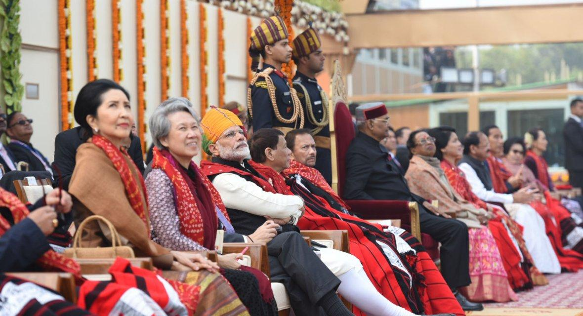 President Ram Nath Kovind, the Vice President,  M. Venkaiah Naidu, the Prime Minister , Narendra Modi and other dignitaries, at Rajpath, on the occasion of the 69th Republic Day Parade 2018, in New Delhi on January 26, 2018.