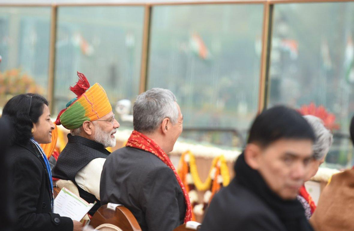 Prime Minister Narendra Modi and other dignitaries, at Rajpath, on the occasion of the 69th Republic Day Parade 2018