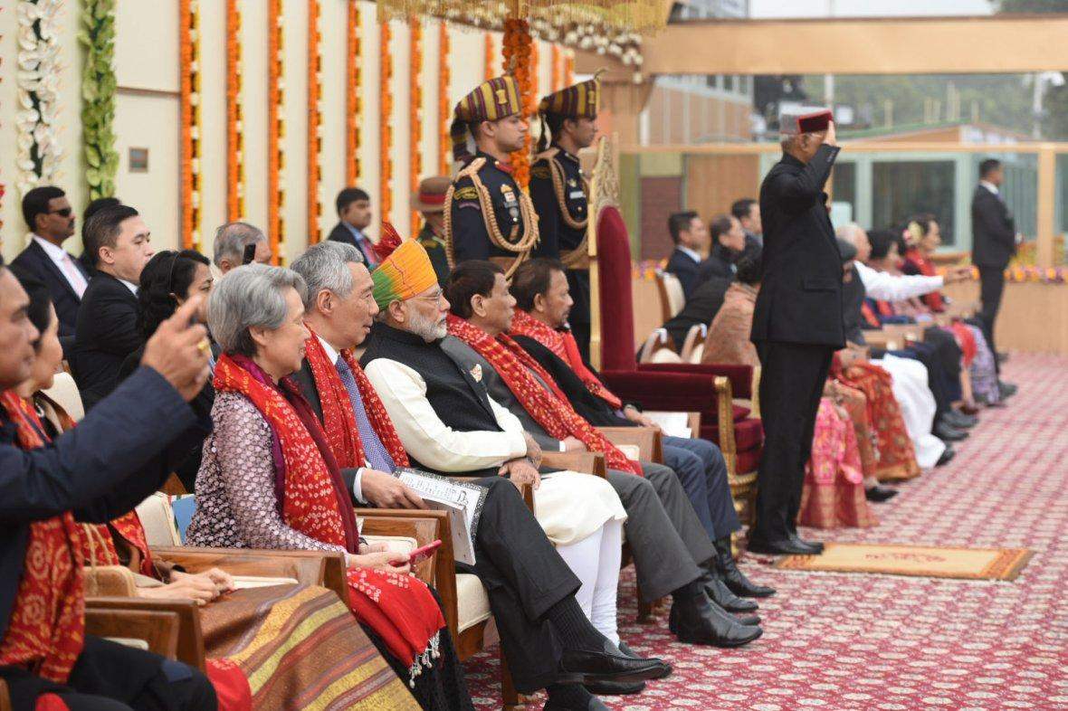 President Ram Nath Kovind, the Prime Minister,  Narendra Modi and other dignitaries, at Rajpath, on the occasion of the 69th Republic Day Parade 2018