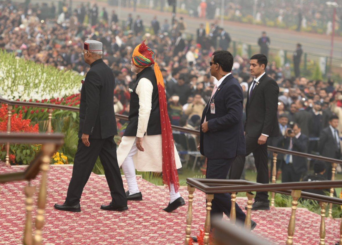Prime Minister, Narendra Modi receiving the President, Ram Nath Kovind, at the 69th Republic Day Celebrations