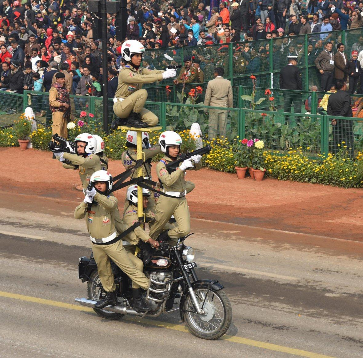 Rajpath comes alive with the dare devil stunts of Women's Motor Cycle team 'Seema Bhawani' of Border Security Force, on the occasion of the 69th Republic Day Parade 2018, in New Delhi on January 26, 2018.