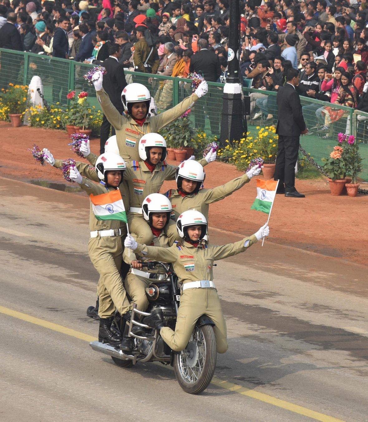 Rajpath comes alive with the dare devil stunts of Women's Motor Cycle team 'Seema Bhawani' of Border Security Force, on the occasion of the 69th Republic Day Parade 2018