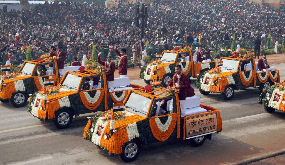 school children perform at Rajpath, on the occasion of the 69th Republic Day Parade 2018