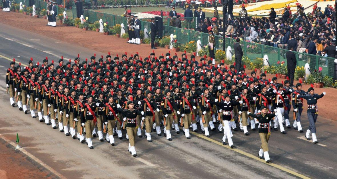 NCC girls Marching Contingent passes through the Rajpath