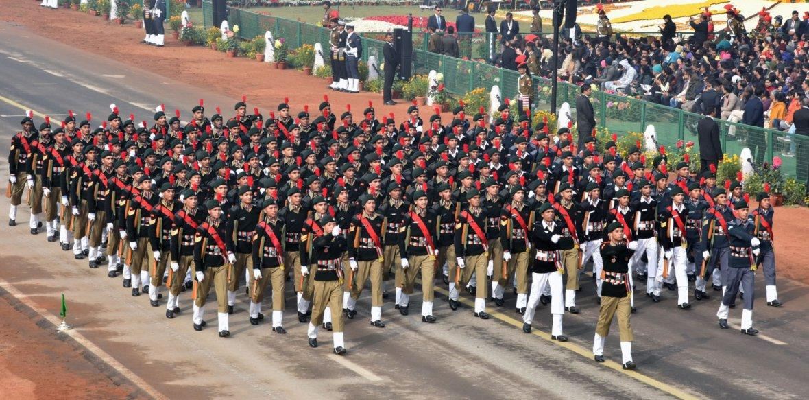 NCC boys Marching Contingent passes through the Rajpath