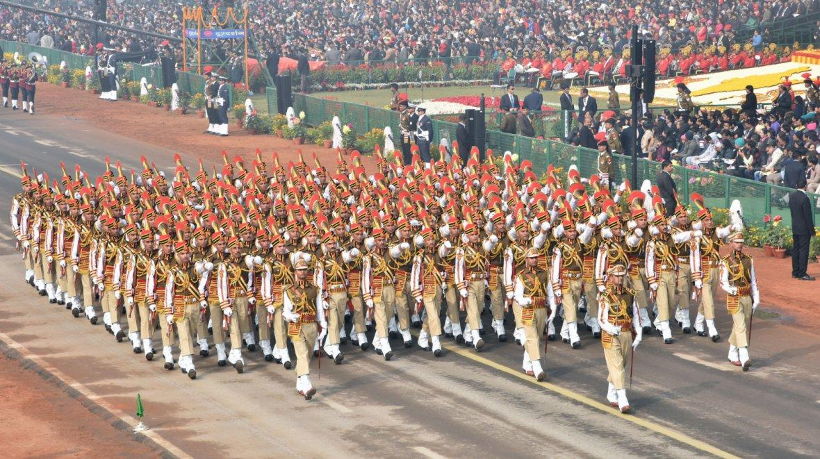 Delhi Police Marching Contingent passes through the Rajpath