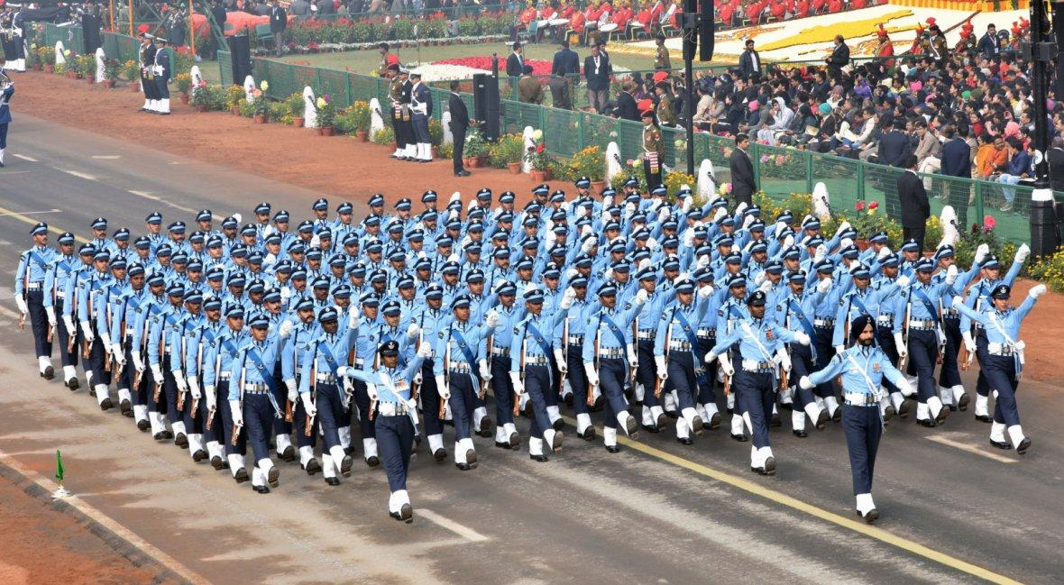 Indian Air Force Marching Contingent passes through the Rajpath
